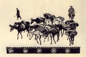 В.Фаворский. Ослики. Из «Самаркандской серии». 1943· Линогравюра