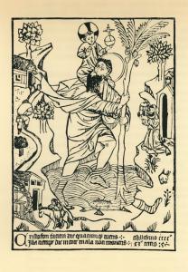 Неизвестный немецкий гравер Св. Христофор с младенцем. Одна из первых гравюр. Ок. 1476. Обрезная гравюра на дереве