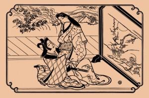 Моронобу В тени ширмы. 1680-e годы