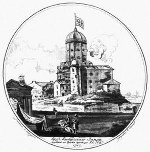 Н. А. Львов. Вид выборгского замка. Гравюра лависом. 1783