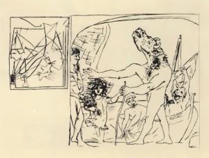 П.Пикассо. Слепой минотавр. Офорт, сухая игла