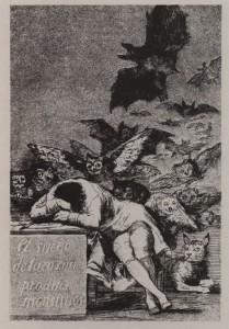 Ф.Гойя Сон разума рождает чудовищ. Из серии Капричос. 1797—1799