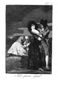 Ф. Гойя. Один другого стоит (Каприччос). 1797—1799. офорт. акватинта, сухая игла