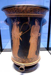 Аттический краснофигурный калаф. Алкей и Сапфо. Ок. 470 г. до н. э. Государственное античное собрание. Мюнхен