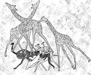 Охотник с луком, подкрадывающийся к животным. Живопись. Тассилин-Аджер, Алжир