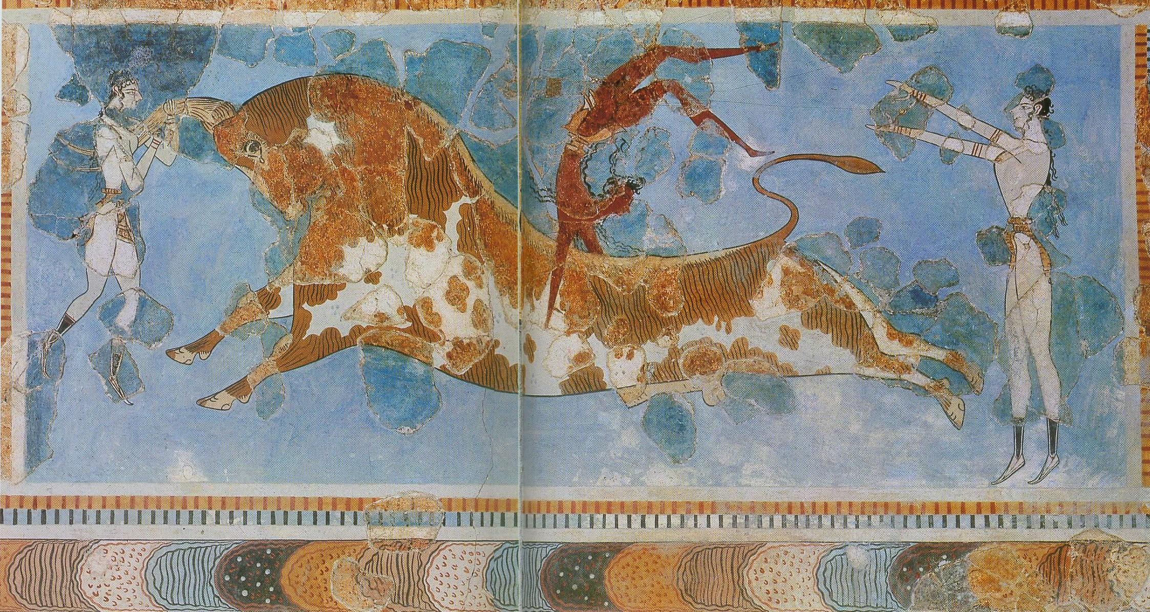 Игра с быком.Фреска из восточного крыла дворца в Кноссе. 1-я половина XV в. до н. э. Игры с быками - излюбленные зрелища критян.