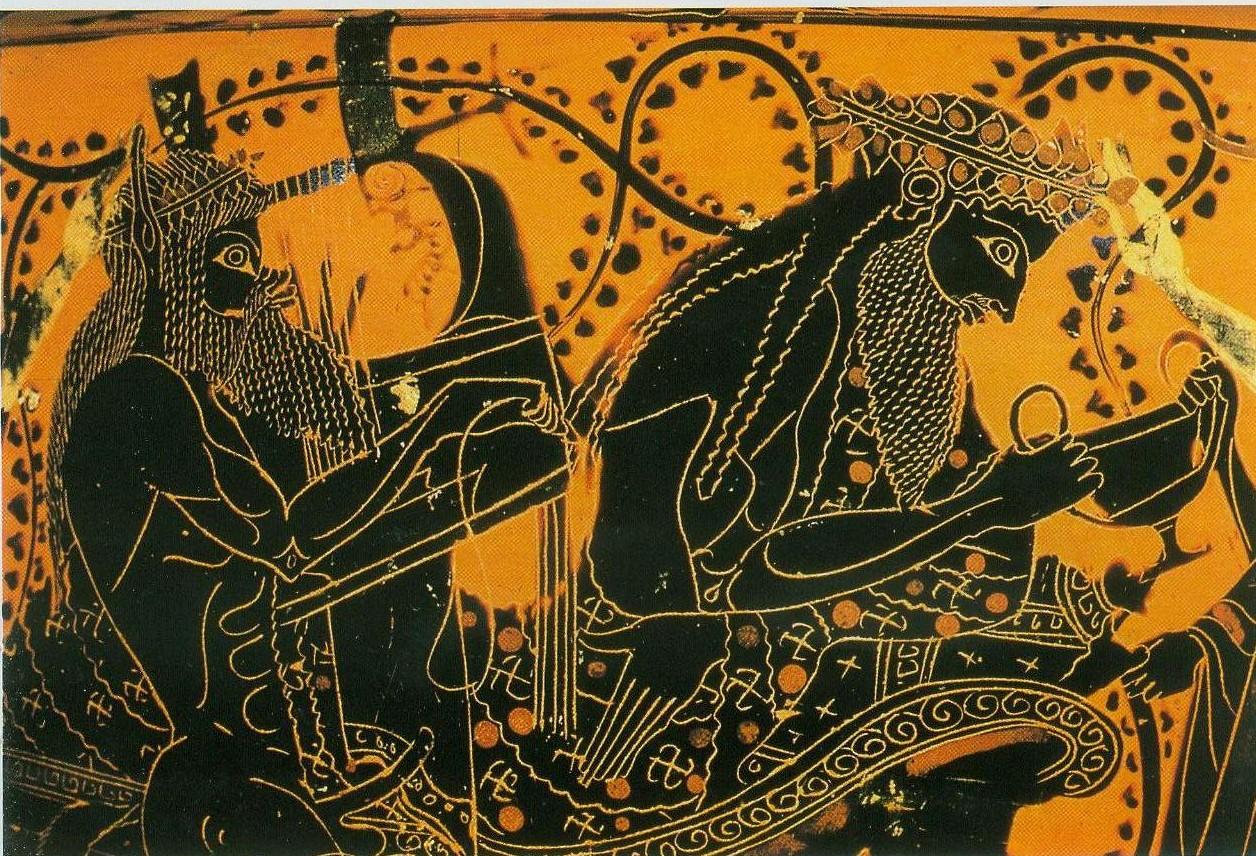 Ваза. Краснофигурная. Lysippides Художник. Гефест перед тем Диониса; Сатиры и менады. В 530/520 г. до н. Лондон, Brit.Mus. B 302