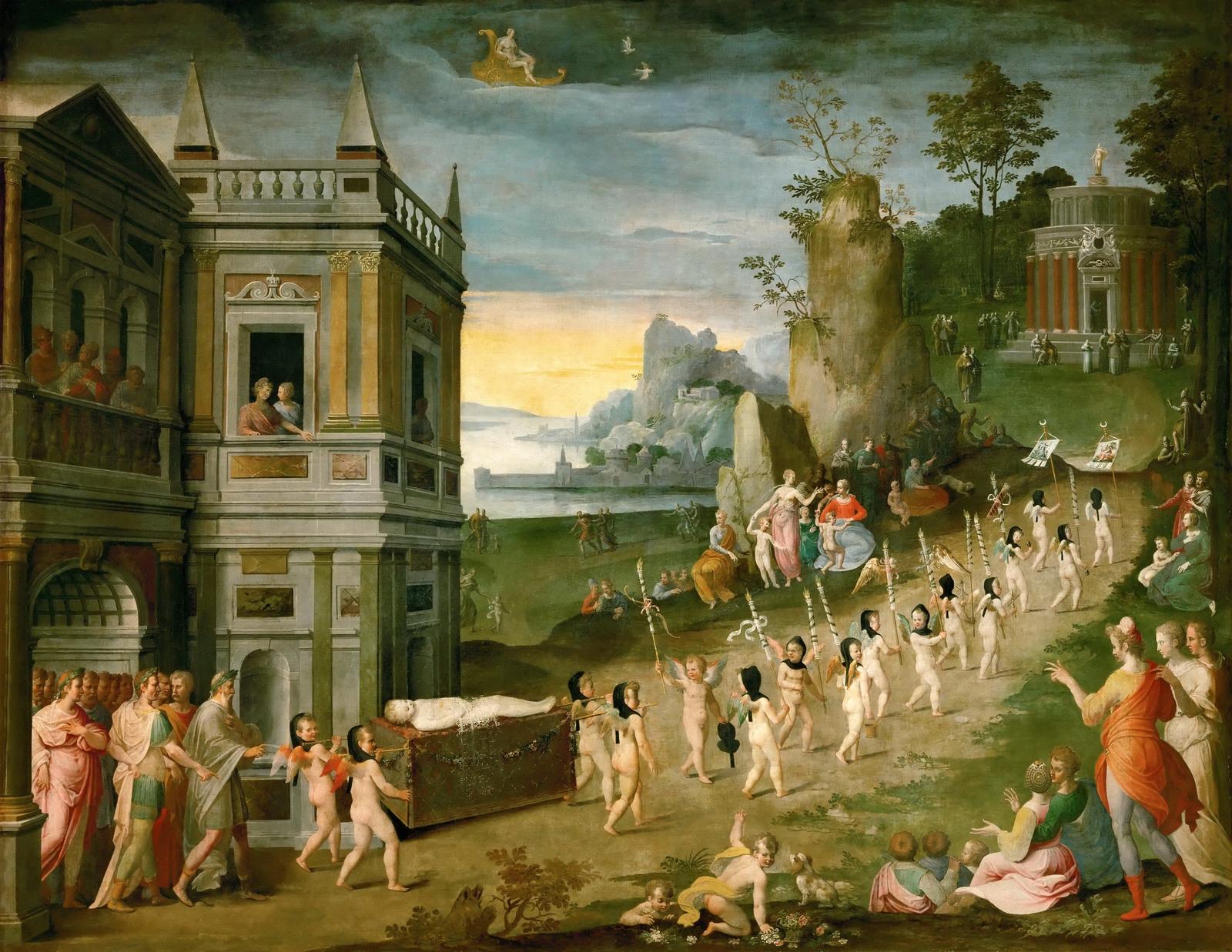 Антуан Карон (Antoine Caron) (1521-1599)_Аллегория похорон Амура (Allegory funeral Cupid)_1560-е_164 х 209_д.,м._Париж, Лувр