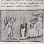 Благовещение. Миниатюра Кодекса Эгберта, ок. 985 г. Трир, Городская библиотека
