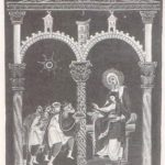 Поклонение волхвов. Миниатюра Евангелария Оттона III. ок. 1000 г.Мюнхен, Баварская Государственная библиотека