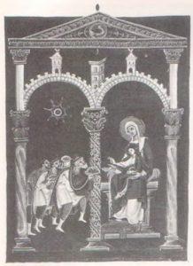 Поклонение волхвов. Миниатюра Евргелария Оттона III. ок. 1000 г.Мюнхен, Баварская Государственная библиотека