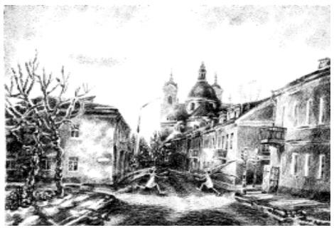 А.Дорошенко. Лист из серии «Гений места». Дипломная работа. Тушь, перо, 1999.