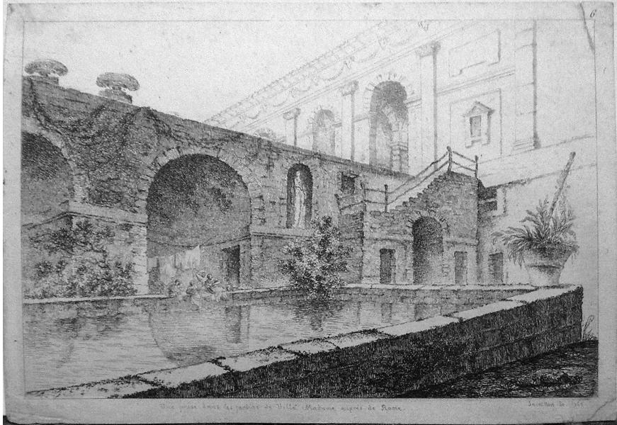 Жан Клод Ришар, аббат де Сен-Нон (с оригинала Юбера Робера). Вид парка на Вилле Мадама под Римом. 1765. Акватинта