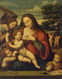Хуан де Хуанес (Висенте Хуан Масип), ок. 1510 (?)-1579  Богоматерь с Младенцем Христом, детьми Иоанном Крестителем, Иоанном Евангелистом и ангелом. Государственный Эрмитаж