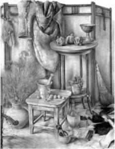 Станковый рисунок. Р.Хачатрян. Натюрморт. Левкас, сепия, 1982.