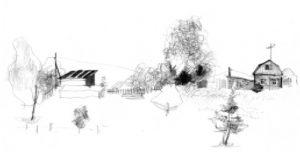 Свободный рисунок. Е.Забелина. Деревня. Учебная работа. Карандаш, 1 9 9 9 .