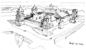 Пример само- стоятельного этюда. А.Филипович. Мирский замок. Учебная работа. Тушь, перо, 1 9 9 6 .