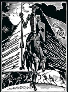 Н.И.Пискарев. Шмуцтитул к книге А.В.Луначарского «Освобожденный Дон Кихот». 1922.