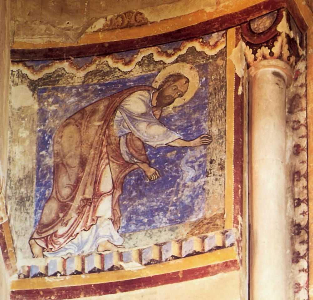 Апостол Павел и ехидна. Капелла святого Ансельма. третья четверть 12 в. Фреска. Монументальная живопись. Великобритания. Кентербери