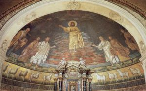 ц. Свв. Косьмы и Дамиана Христос с апостолами Петром и Павлом и святыми Космой и Дамианом Апсида