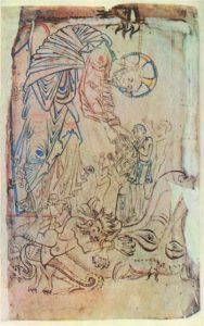 Сошествие во ад. Котонианская Псалтырь. ок.1050г. Лондон, Британский муз.