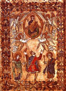 Король Эдгар вручает Христу текст хартии