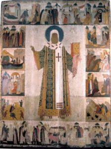 Круг Дионисия. Митрополит Петр, с житием. Конец XV в. Успенский собор Московского Кремля