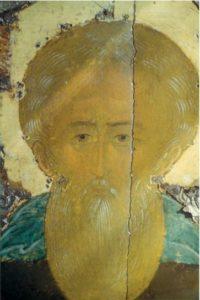 Дионисий. Преподобный Кирилл Белозерский. Деталь. Около 1500 г. Из Казанской церкви в г. Кириллове. ГРМ