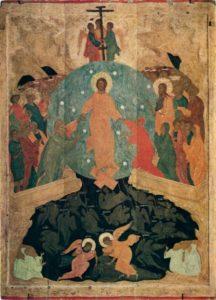 Мастерская Дионисия. Сошествие во ад. Около 1502 г. Из местного ряда иконостаса собора Рождества Богородицы Ферапонтова монастыря. ГРМ