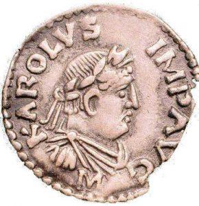 Монета Карла Великого, изображающая Карла в традиционной римской одежде. Карл, будучи в Риме, был вынужден дважды надевать тогу. Надпись: KAROLVS IMP AVG