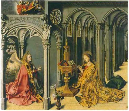 Мастер Благовещения из Экса. Благовещение. 1443-45 гг. Экс-ан-Прованс, церковь Сен-Мари-Мадлен. Средняя створка триптиха. Живопись по дереву.