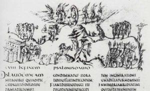 Утрехтская псалтирь. 109 (108) псалом. 816-823 гг. Утрехт, библиотека университета. Миниатюра. Реймская школа. Пс.109. MS. 32, f.64