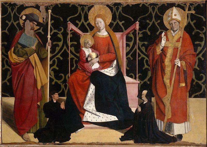 А. Картон. Мадонна с младенцем в окружении святых и донаторов. 1445—50 годы. Авиньон, Пти Пале.