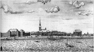 Усадьба А. Д. Меншикова на Васильевском острове. Рисунок X.Марселиуса. 1725