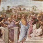 Рафаэль Санти Станца делла Сеньятура в Ватикане. Настенная фреска. Диспут (прославление таинства евхаристии), фрагмент. Архитектор Браманте (с книгой), Франческо Мария делла Ровере (стоит на переднем плане) 1509 Фреска Рим. Ватикан, Станца делла Сеньятура Заказчик: папа Юлий II