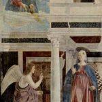 Пьеро делла Франческа Цикл фресок на сюжет легенды о Животворящем кресте в хорах церкви Сан Франческо в Ареццо (фрагмент). Благовещение 1452-1466 Фреска Ареццо. Сан Франческо