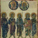 Богородица, Христос, Иоанн Креститель, Захария и Елизавета, вверху пророчица Анна и Симеон