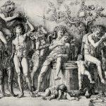 Мантенья, Андреа Гравер: Мантенья, Андреа Вакханалия с винным прессом Около 1494 332 х 462 мм Резцовая гравюра на меди Четсуорт (графство Дербишир). Девонширская коллекция