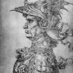 Леонардо да Винчи Воин в античном доспехе, в профиль Около 1478 282 х 200 мм Серебряный штифт на желтовато-белой бумаге Лондон. Британский музей, Отдел гравюры и рисунка