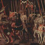 Учелло, Паоло Три картины о битве при Романо для дворца Медичи во Флоренции. Вступление в бой Микелетто да Котиньолы 1456 180 x 316 см Дерево, темпера Париж. Лувр
