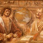 Браманте, Донато Гераклит и Демокрит 1477 Перенесена на холст Милан. Пинакотека Брера