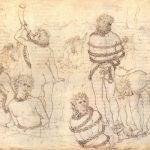 Боттичелли, Сандро Данте и Вергилий у скованных гигантов 1480-1495 323 х 470 мм Перо поверх рисунка серебряным карандашом, на пергаменте Берлин. Гравюрный кабинет