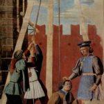 Пьеро делла Франческа Цикл фресок на сюжет легенды о Животворящем кресте в хорах церкви Сан Франческо в Ареццо [14]. Исповедь 1452-1466 Фреска Ареццо. Сан Франческо