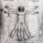 Леонардо да Винчи Канон пропорций мужской фигуры по Витрувию 34,4 x 24,5 см Тушь Венеция. Галерея Академии