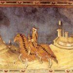 Мартини, Симонe Кондотьер Гвидориччо да Фольяно 1328 340 x 968 см Фреска Сиена. Палаццо Пубблико, зал Карты мира