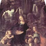 Леонардо да Винчи Мадонна в скалах. Мадонна с Младенцем Иисусом, младенцем Иоанном Крестителем и ангелом Около 1483-1486 198 x 123 см Холст Париж. Лувр
