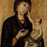 """Дуччо ди Буонинсенья. """"Мадонна ди Креволе"""": Мадонна на престоле и два ангела. Около 1283-1284"""