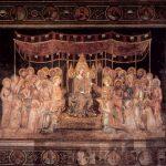 Мартини, Симонe Мадонна на троне как покровительница города в окружении святых. Фреска из Палаццо Пубблико в Сиене Закончена в 1316 Фреска Сиена. Палаццо Пубблико, зал Карты мира