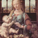 Леонардо да Винчи Мадонна с гвоздикой 1478 42 x 67 см Дерево, масло Мюнхен. Старая Пинакотека