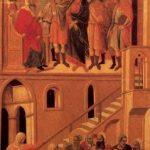 Дуччо ди Буонинсенья. Маэста. Христос перед Кайафой и Отречение Святого Петра. 1308-1311